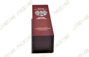 China Luxury Foldable Cardboard Wine Box With Silver Stamped Logo 300*100*90mm on sale