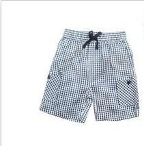 China Elastic Waist Kids Pure Cotton Shorts And Check Pants For Board / Swim on sale