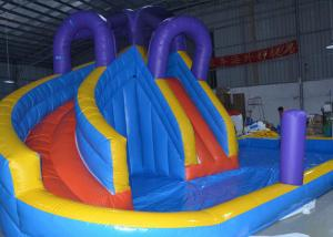 China Blue And Yellow Inflatable Water Slide With Pool For Commercial Use on sale