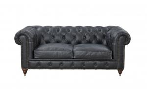 China Vintage Slate Color  2 Seater Leather Sofa Grey, Leather Couch Two SeaterChesterfield Love Seat on sale