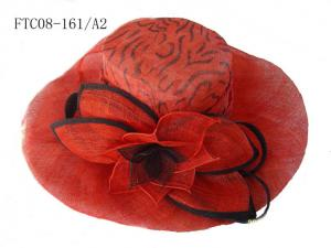China lady hat sinamay red FTC08-161 on sale