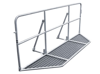 A piece of foldable base cross tube police barrier on the white background.