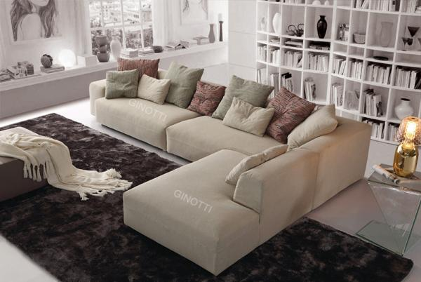 Beige Color Modern Fabric Sofas , Italian B / B Fabric Sofa Designs Images