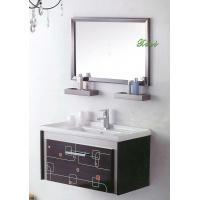 Italian classical birch solid wood floor standing illuminated mirror bathroom vanity base cabinet