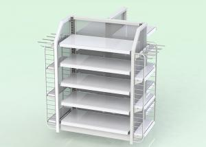 China Single Side Supermarket Metal Shelves Cold Rolled Steel Material OEM Acceptable on sale