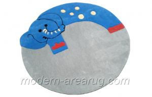 China Blue Grey  Acrylic Round Baby Elephant Patterned Kids Play Rug, Children Carpet Rugs on sale
