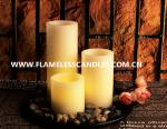 Ivory Wax Straight Edge Flameless LED Candles With Rock and Round Plastic Tray