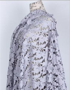 China 100% Cotton Fiber Water Soluble Embroidery   Fabric with Lace applique  Black Ivory Double Color on sale
