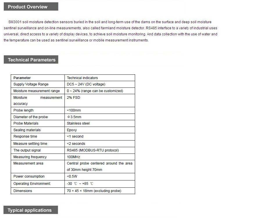 SM3001B industrial-type soil moisture sensor for sale – Soil