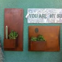 Garden metal flower pot,rusty small metal flower pot,wall planter