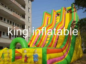 China Giant Double Lane Inflatable Dry Slide Colorful Cartoon Printing For Amusement Park on sale