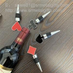 China Enamel Top Metal Alloy Wine Bottle Stopper with Rubber Band China Factory on sale
