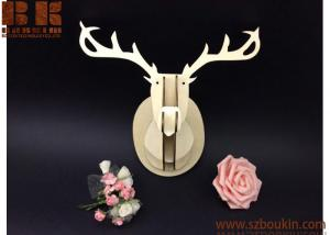 China 2018 new DIY big head deer head wall hanging home wall decor wood natural color on sale