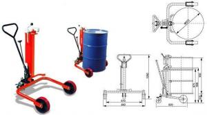 China Drum lifter, 250/550kg oil drum truck with two big size rollers and one caster wheel on sale