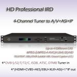 Digital TV 4-Channel HD Professional IRD ISDB-T Demodulation SD/HD MPEG-2 and MPEG-4 AVC/H.264 digital video decoding