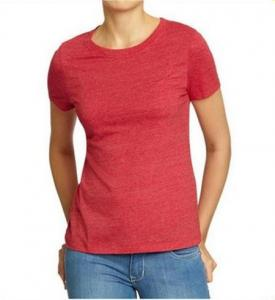 China Solid Color Womens Hemp Cotton Clothing Red Plain T Shirt OEM Service Available on sale