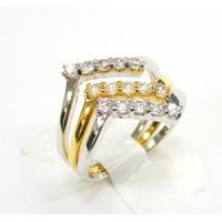 China China Manufacturer Bling purified silver three stacked ring bands with gold & white rhodiu on sale