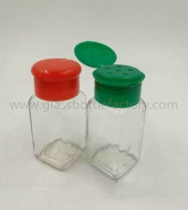 China 80ml Clear Square Spices Glass Jar With Lids on sale