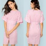 Fall Apparel For Women Rolled Up Sleeve Wide Waistband Plaid Dress