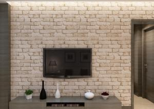 China Removable Chinese Style 3D Brick Effect Wallpaper with White Grey Color , CSA standard on sale