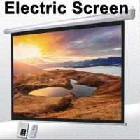 """1:1 60""""Motorized Projector Screen With Remote Control,Matte White Fabric Screen For Movie Theater"""