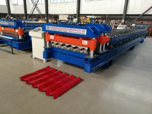 China Servo Motor Glazed Tile Roll Forming Machine 4 Meter / Min With 18 Rows on sale