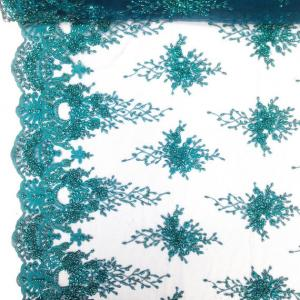 China Green Color Teal Spirit Floral Bridal Beaded Lace Fabric On Mesh 100% Polyester on sale