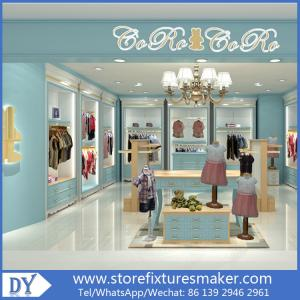 China Custom nice fashion  design wooden lacquer Childrens Clothing Stores display showcase furniture  with good price on sale