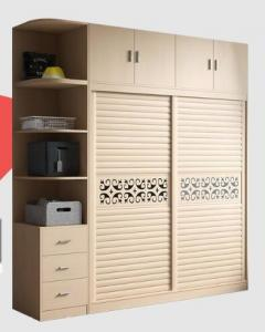 China Integrated Wooden Wardrobe Closet Fashion With Wood - Plastic Moving Door on sale