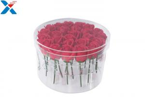 China Waterproof acrylic box 25 holes round flower box with lid for gift on sale