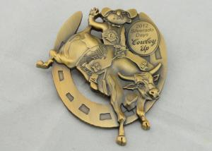 China 4.0mm High Relief 3D Die Cast Medals By Antique Gold Plating For Gift on sale