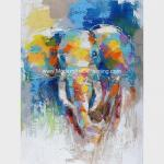 Abstract Colorful Elephant Painting On Canvas / Animal Print Canvas Wall Art