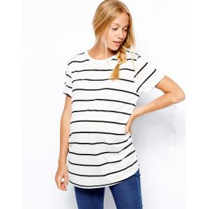 China western maternity wear in black and white stripe shirt in loose design on sale