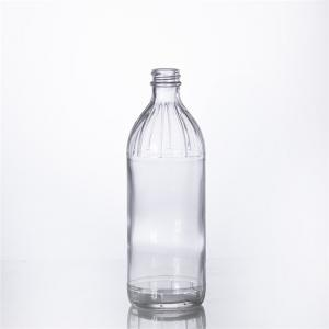 China 16OZ round shape glass vinegar bottle clear condiment packaging for food on sale