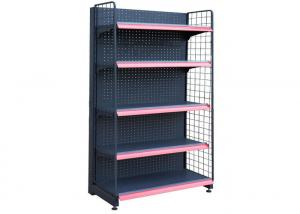 China Iron Powder Coated Supermarket Display Racks , Commercial Store Shelving 3-5 Layer on sale