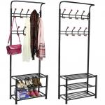 Black Coated Commercial Wire Shelving With Shoe Storage Bench 3 Shelves