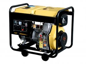 Quality 5000w Silent Diesel Generator , Yellow / Red Quiet Portable Generator for sale