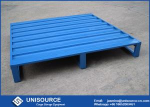 China Blue Powder Coating Iron Warehouse Steel Pallet With 4 Side Forklift Entrance on sale