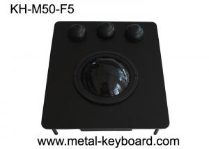 Quality USB Port Black Metal Panel Industrial Trackball Mouse with 50MM Resin Ball for sale