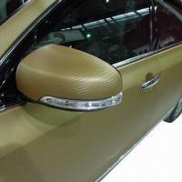 3D Golden Carbon Fiber Car Wrapping, Protection PVC Films