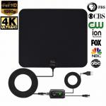 Ultra Thin HDTV Antenna Indoor Support 1080P/4K TV 50-75 Miles Range with Amplifier
