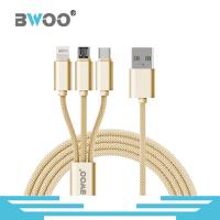 Bwoo Colorful 1M Nylon Braided USB Data Cable 3 in 1 Micro Lightning & Type-C in 1