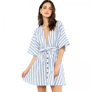 China Women Sweet V Neck Tied Open Back Striped Dress With Tassel on sale