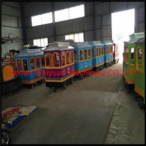 China 2 years warranty for 4 couches 18 seats Electric amusement park used trackless train hot sale on sale