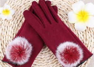 China Warmest Sheepskin Gloves Velvet Fleece Gloves Red Color Rex Rabbit Fur Touch Screen on sale