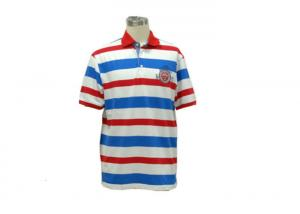 China Customized Yarn Dyed Polo T Shirts , Red White And Blue Striped Polo Shirt on sale