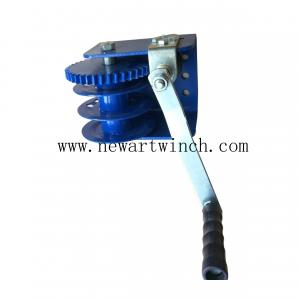 China 900kg Blue Worm Gear Winch Without Cable and Strap For Crane, Lifting Hand Winch For Sale on sale
