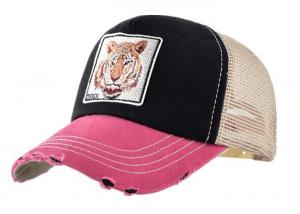 China Tiger Custom Embroidered Snapback Hats , Summer Snapback Mesh Caps With Plastic Buckle on sale