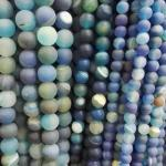 blue matte striped onyx round beads