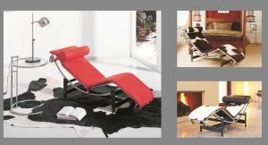China cadeira de sala de estar mais corbusier LC4 do chaise do le, cadeira de couro moderna, sofá-cama de couro, #076 on sale